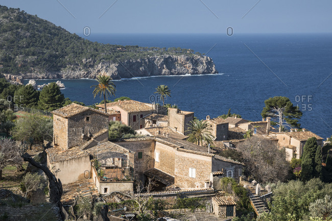 View over Lluc Alcari in the Cala de Deia, Mallorca, Balearic Islands, Spain