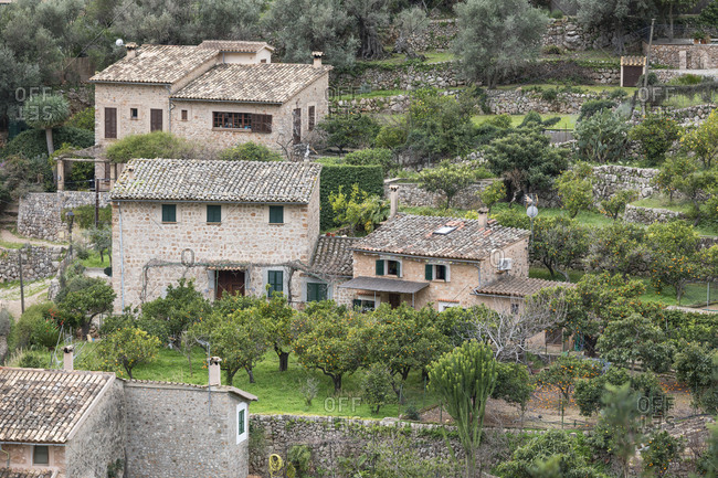 March 2, 2018: Finca with orange trees, Fornalutx, Mallorca, Balearic Islands, Spain