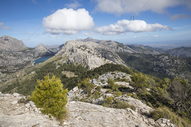 View from the top of the Puig de l'Ofre, left of the Cuber Reservoir, Mallorca, Balearic Islands, Spain