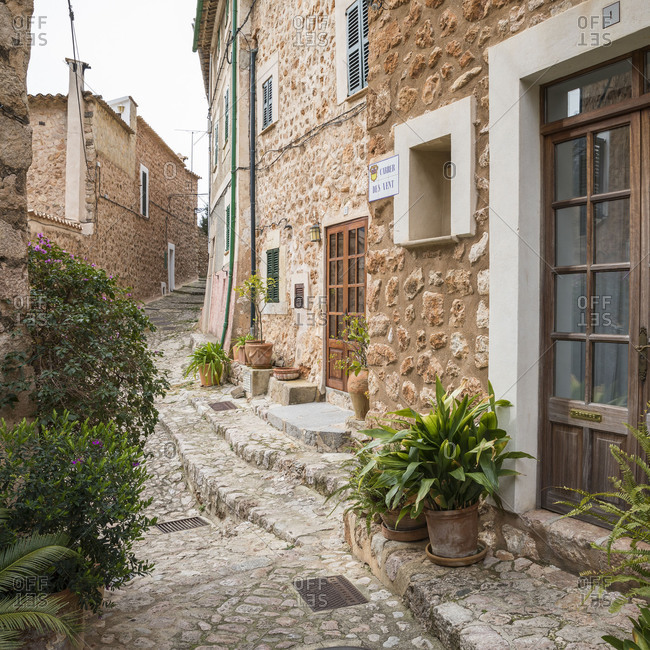 March 2, 2018: Alley in Fornalutx, Mallorca, Balearic Islands, Spain