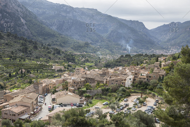 March 2, 2018: View of Fornalutx, behind the Tramuntana mountains, Mallorca, Balearic Islands, Spain