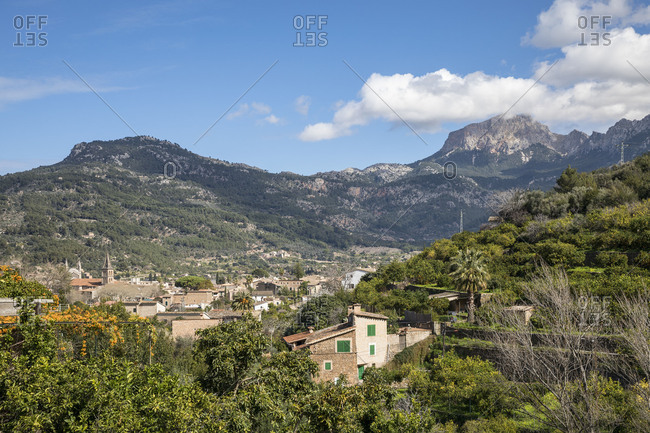 View over Soller to the Tramuntana mountains, Soller, Mallorca, Balearic Islands, Spain