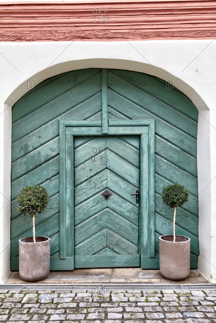 Door, old front door, wooden door, entrance, autumn, Fahr, Franconia, Bavaria, Germany, Europe