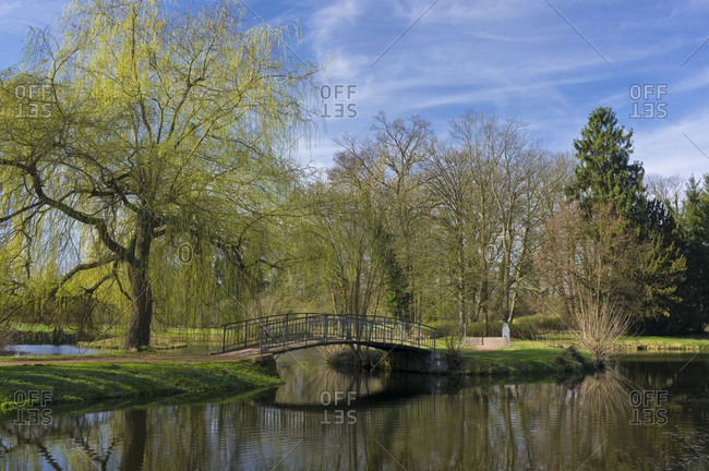 Germany, Brandenburg, Uckermark, Criewen, Lower Oder Valley National Park, spring day in the park of Criewen Castle (seat of the National Park Administration)