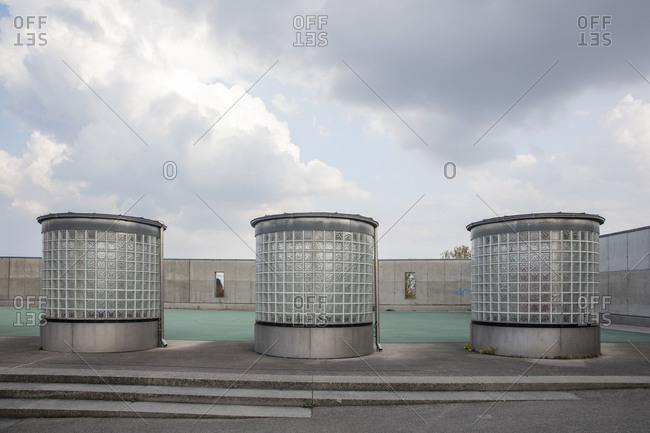Three light wells on the football field, Scharnhausener Park, Ostfildern, Baden-Wurttemberg, Germany