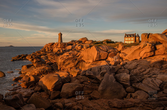 Lighthouse on the Cote de Granit Rose, Brittany, France