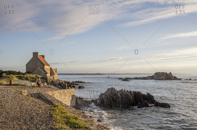 July 31, 2016: Fisherman's house on the Cote de Granit Rose, Brittany, France