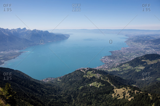 Bick from Rochers de Naye on Vevey and Montreux on Lake Geneva, canton of Vaud, western Switzerland, Switzerland