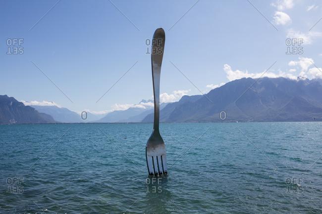 April 12, 2017: The Fork in the Lake, Artwork, Vevey, Lake Geneva, Canton of Vaud, Western Switzerland, Switzerland