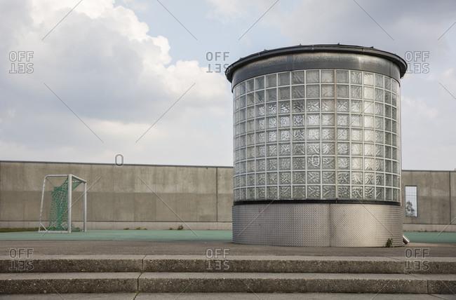 Modern light shaft at the football field, Scharnhausener Park, Ostfildern, Baden-Wurttemberg, Germany