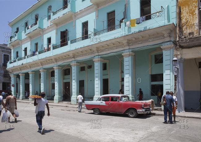April 17, 2015: Red vintage car in old town, Havana, Cuba