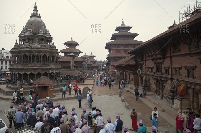 May 3, 2014: Durbar Square with pilgrims, Kathmandu, Nepal