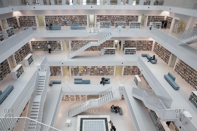 July 25, 2016: Atrium in the interior, Neue Bibliothek, Stuttgart, Baden-Wurttemberg, Germany