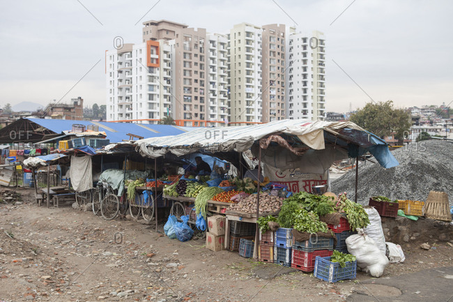 May 5, 2014: Small vegetable market on the outskirts of Kathmandu, Nepal