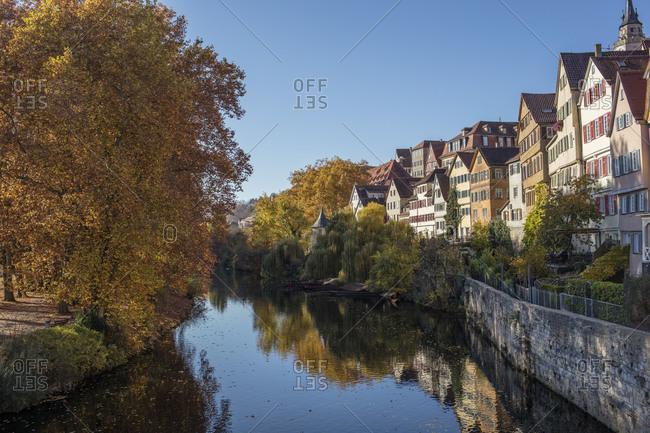 October 27, 2017: Old town on the river Neckar in autumn, Tubingen, Baden-Wurttemberg, Germany