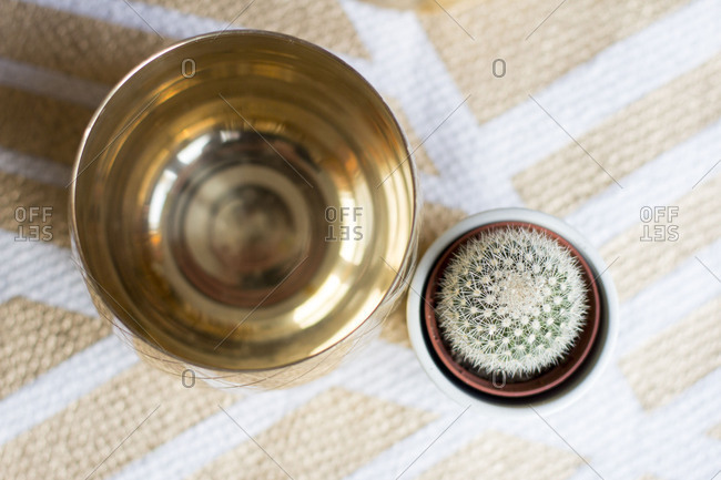 Bowl made of brass next to a small cactus