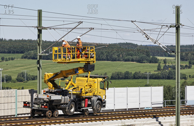 July 19, 2016: Construction vehicle, overhead line works, mechanics, work platform