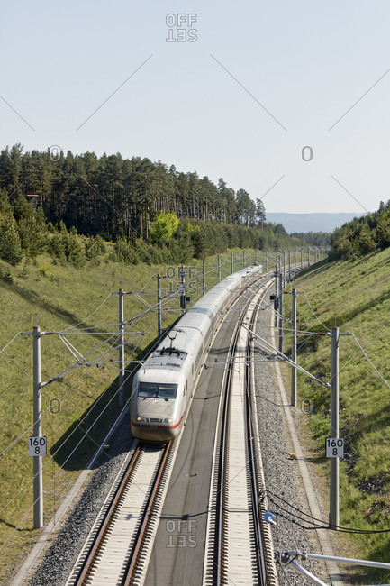 May 7, 2018: Train, overhead line, cutting, forest