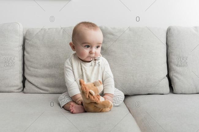 Baby boy sitting on sofa with plush lion
