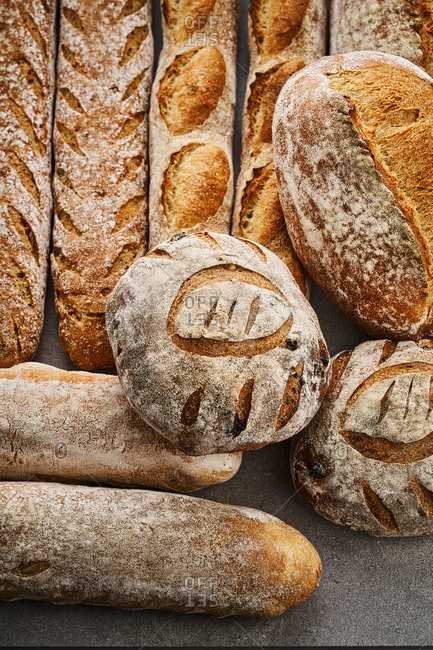 Different kinds of artisanal breads