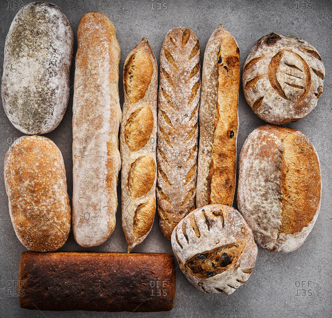 Various kinds of artisanal breads