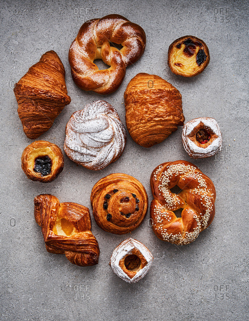 Different kinds of artisanal pastries