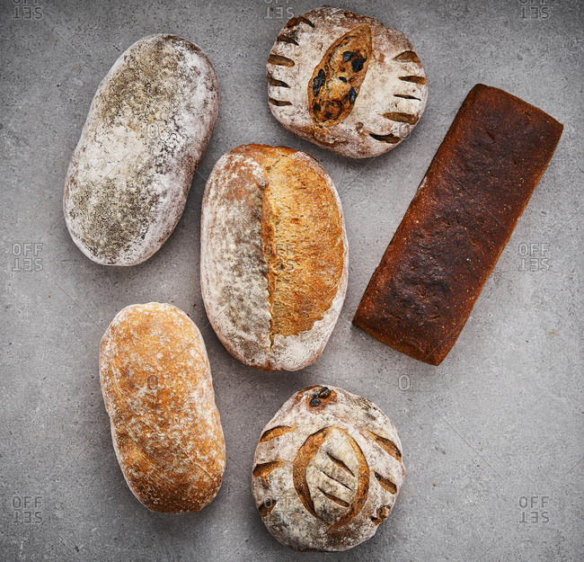 Different types of artisanal breads