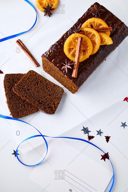 Spiced gingerbread sliced