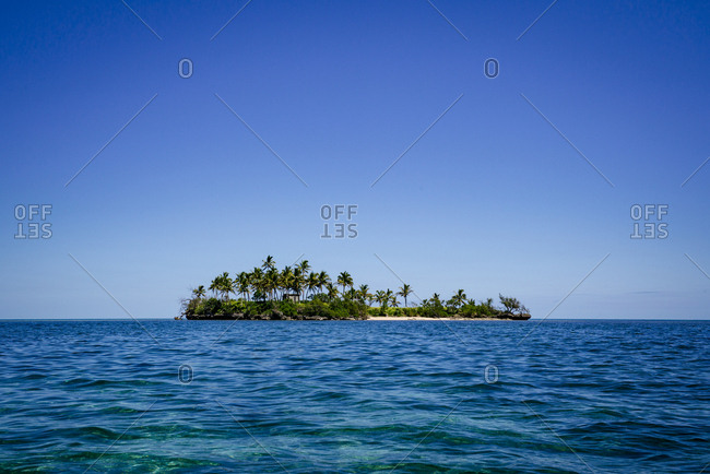 Small tropical island with palm trees in the South Pacific Ocean