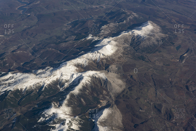 Snow capped mountains from above