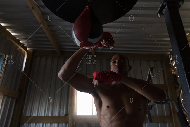 Low angle view of male boxer practicing boxing with punching bag in boxing club