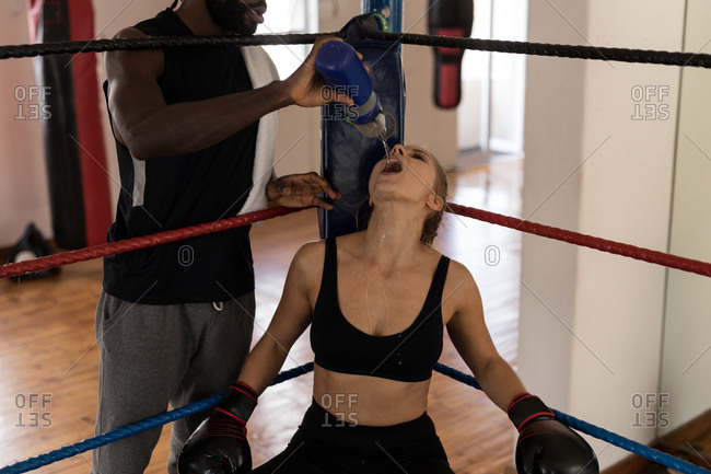 Male trainer feeding water to female boxer in boxing ring at fitness studio