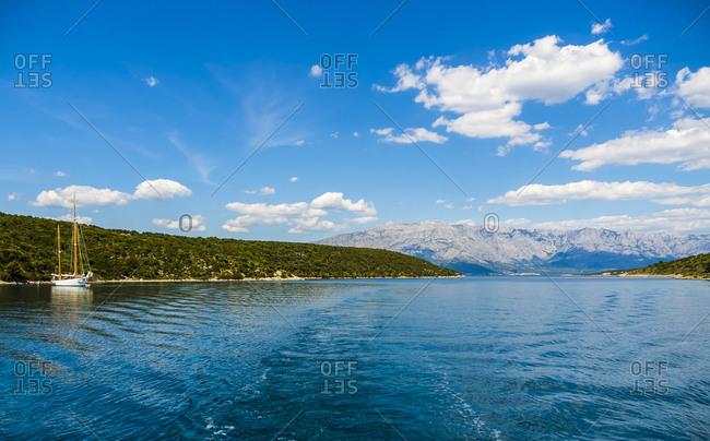 Croatia- Dalmatia- Brac Island- Povlja- bay of Pucisca with sailing ship