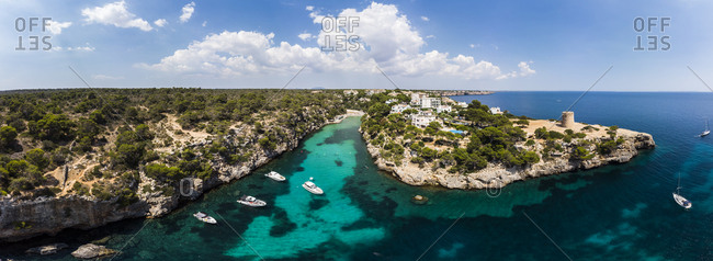Spain- Balearic Islands- Mallorca- Llucmajor- Aerial view of bay of Cala Pi and Torre de Cala Pi