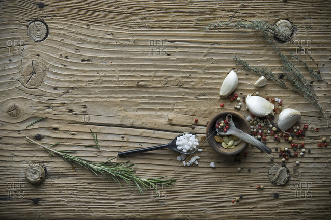 Cooking ingredients on old wood