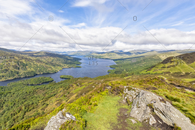 UK- Scotland- Highland- Trossachs- view from mountain Ben A'an to Loch Katrine