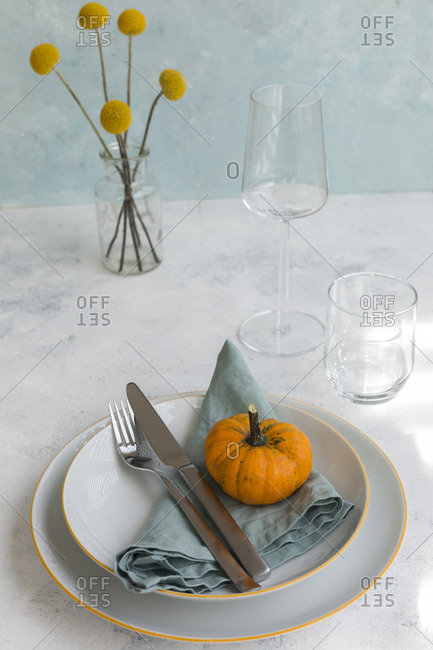 Autumnal table decoration with  decorative gourd