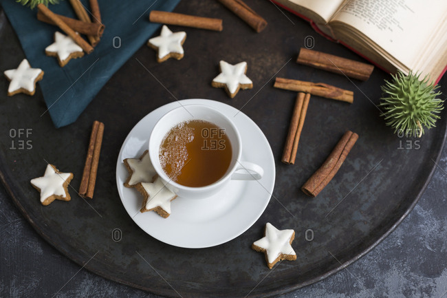 Cup of tea and cinnamon stars
