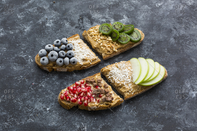 Bread slices with various toppings