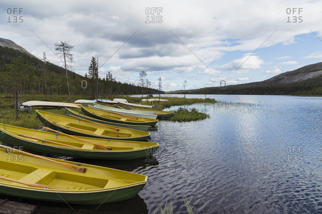- August 7, 2018: Finland- Lapland- rowing boats at the lakeside