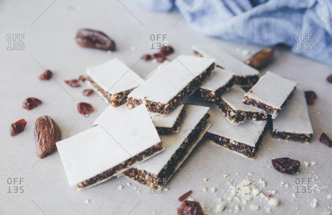Fruit bars- almonds- raisins- cranberries- oat flakes and dates