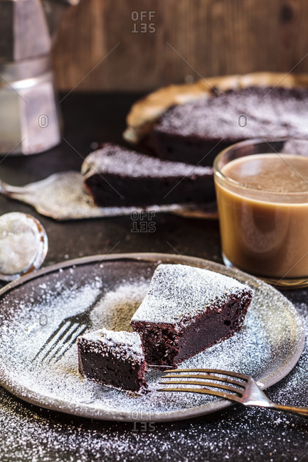 Swedish kladdkaka- dark chocolate cake- swedish brownie with coffee