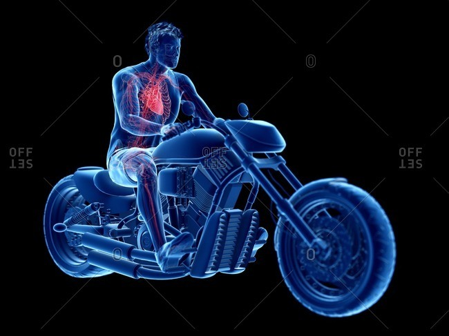3d rendered illustration of a biker's heart.