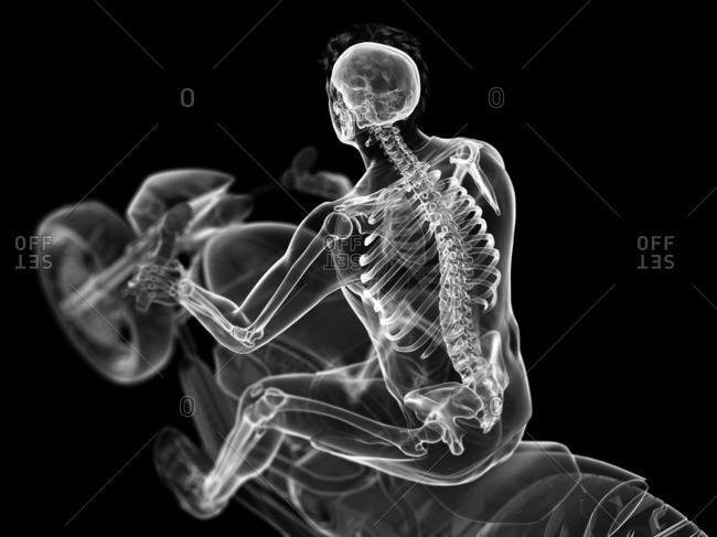 3d rendered illustration of a biker's skeleton.