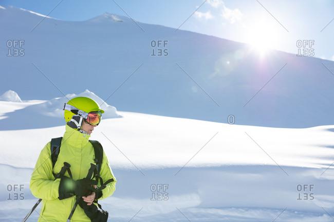 Woman in ski gear