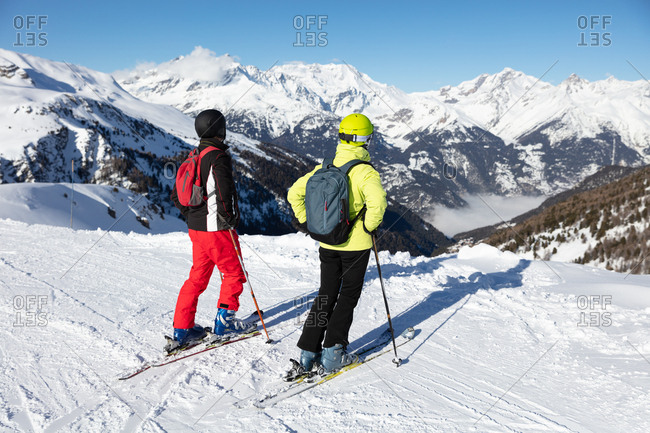 Couple on skiing holiday