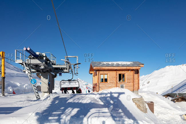 Ski lift arrival cabin at mountain peak