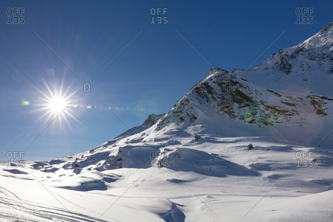 Snowy mountains on a sunny day