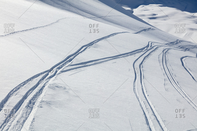 Ski tracks in snow