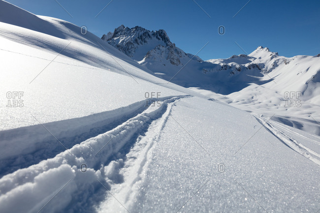 Ski tracks in powder snow